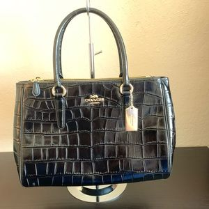 COACH CROC LARGE BLACK SURREY CARRYALL  F48619